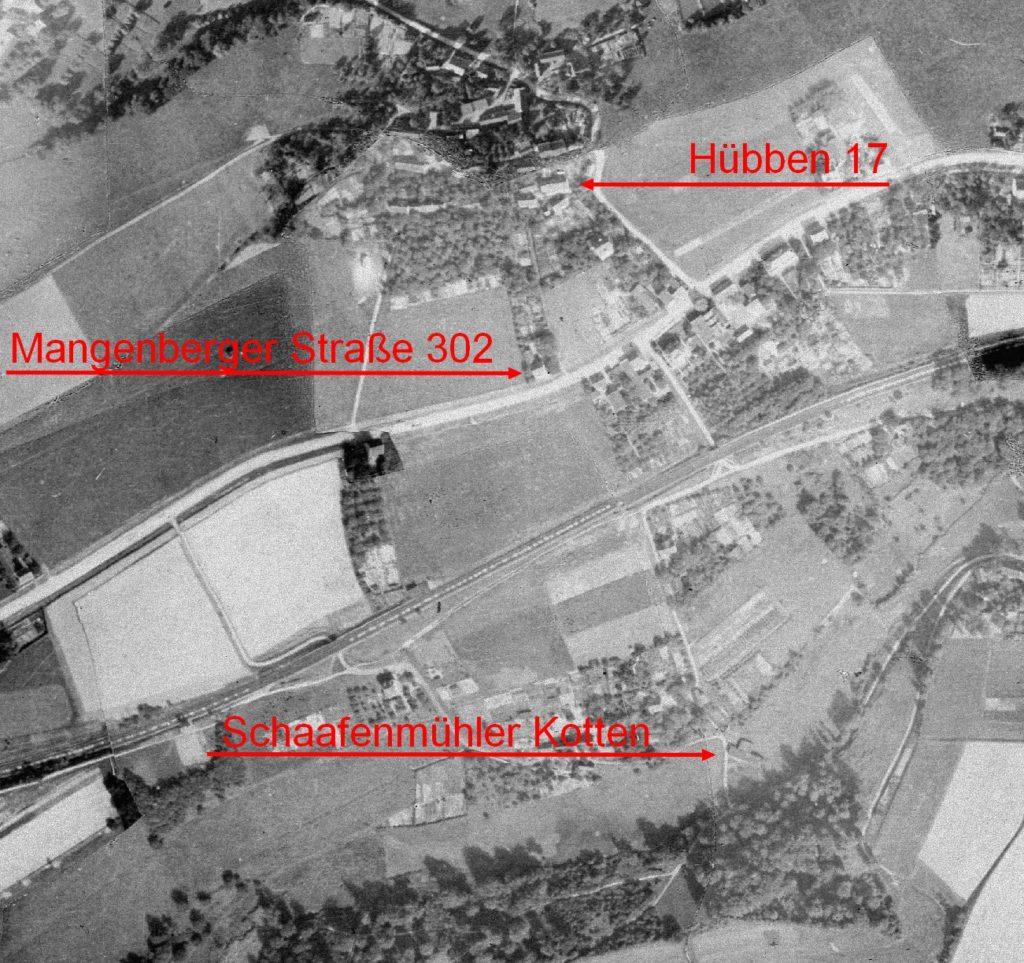 Ein Luftbild der Hofschaften Schaafenmühle und Hübben von 1928