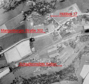 Ein Luftbild der Hofschaften Schaafenmühle und Hübben von 1928, © Klingenstadt Solingen, Nr. 2017-2117