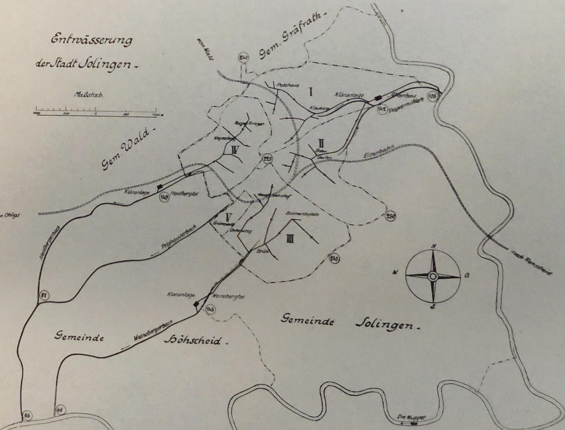 """Die Solinger Kläranlagen und ihre Einzugsgebiete. Aus """"Solingen und sein Industriebezirk"""", 1922"""