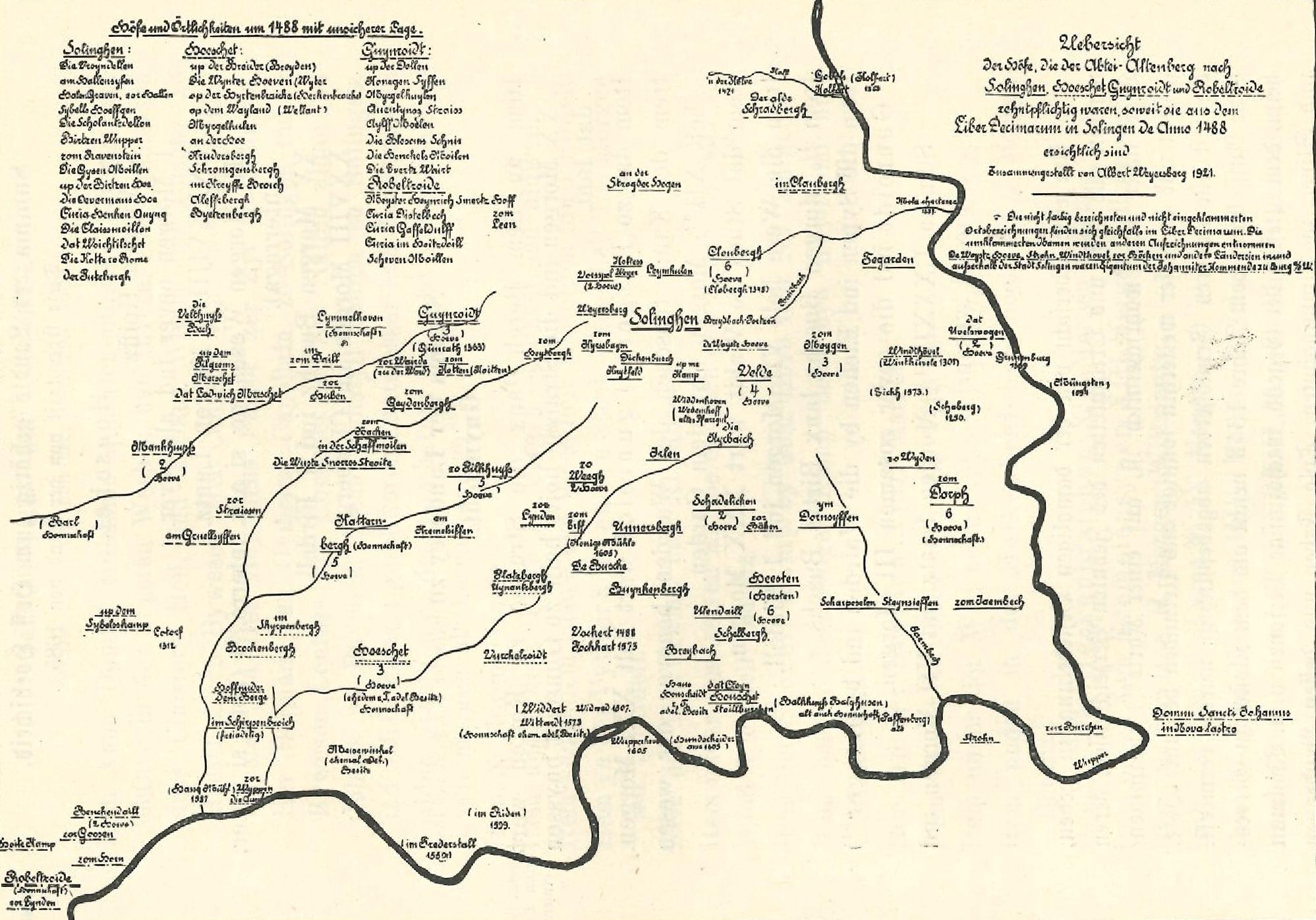 Übersicht der Solinger Höfe und Örtlichkeiten um 1488