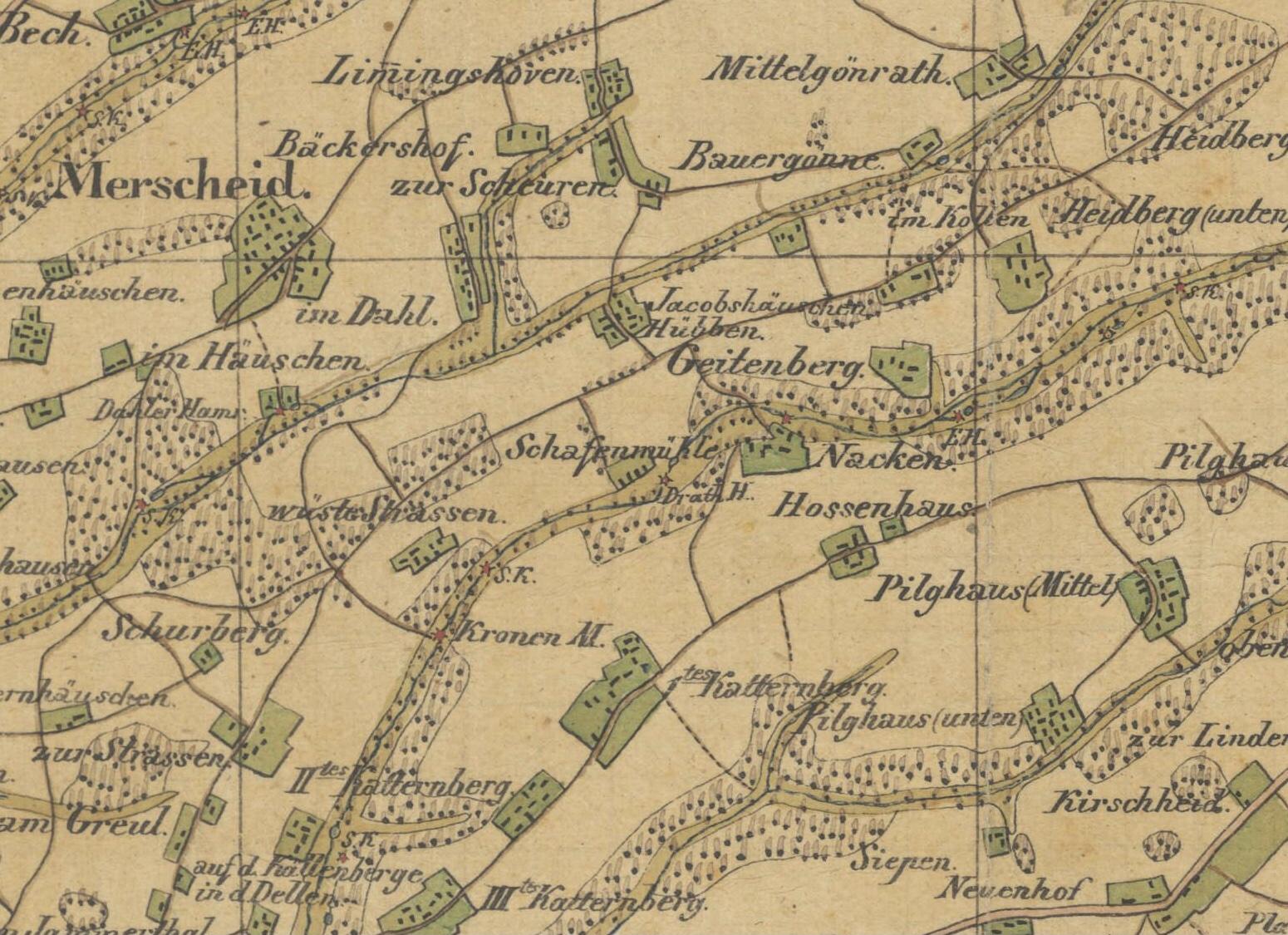 In den Urmeßtischblättern der Preußischen Landesaufnahme taucht in der Schaafenmühle plötzlich der Drath-Hammer auf.