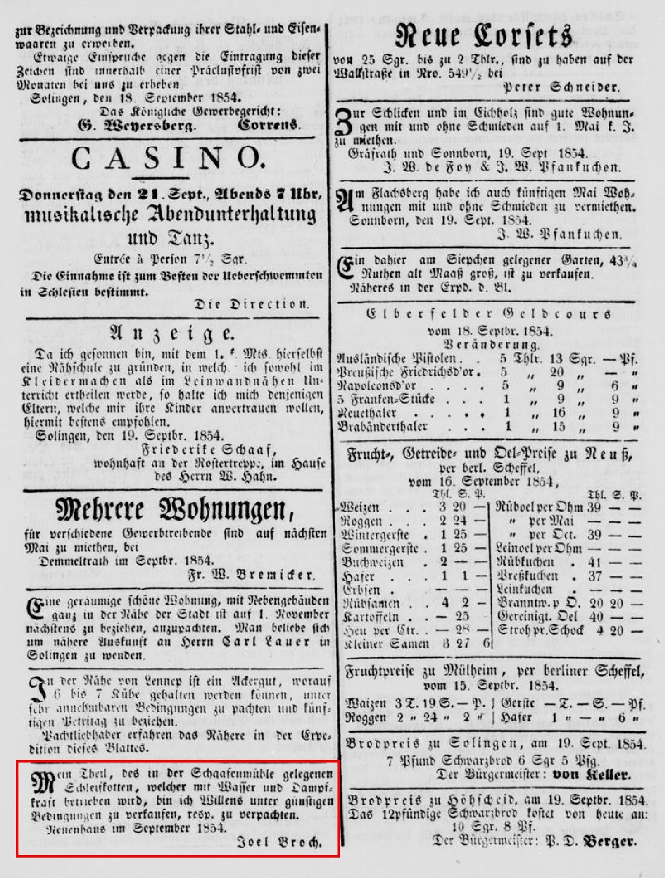 Anzeige_1854-09-20_Solinger-Kreis-Intelligenzblatt_Seite-3-unten