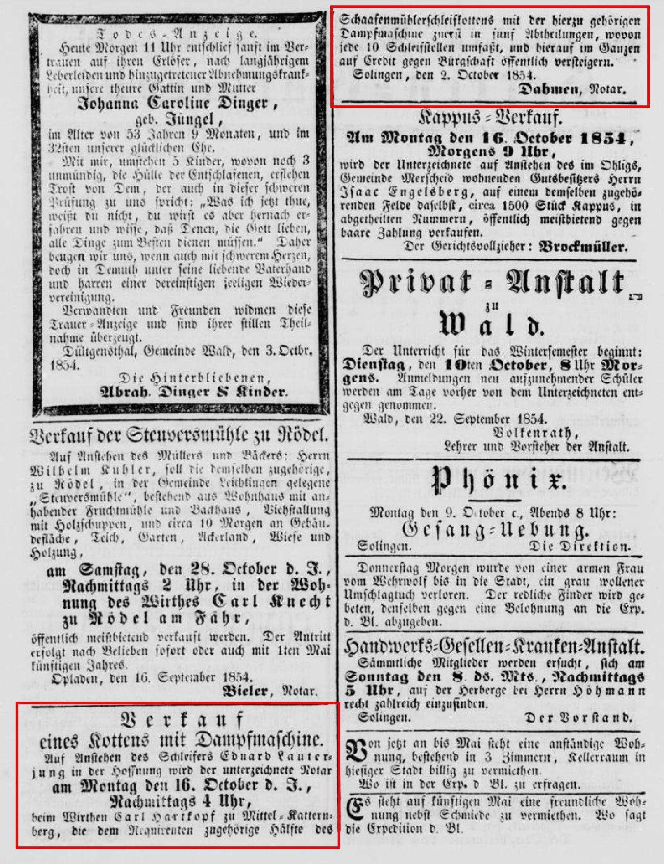 Anzeige_1854-10-07_Solinger-Kreis-Intelligenzblatt_Seite-2-unten