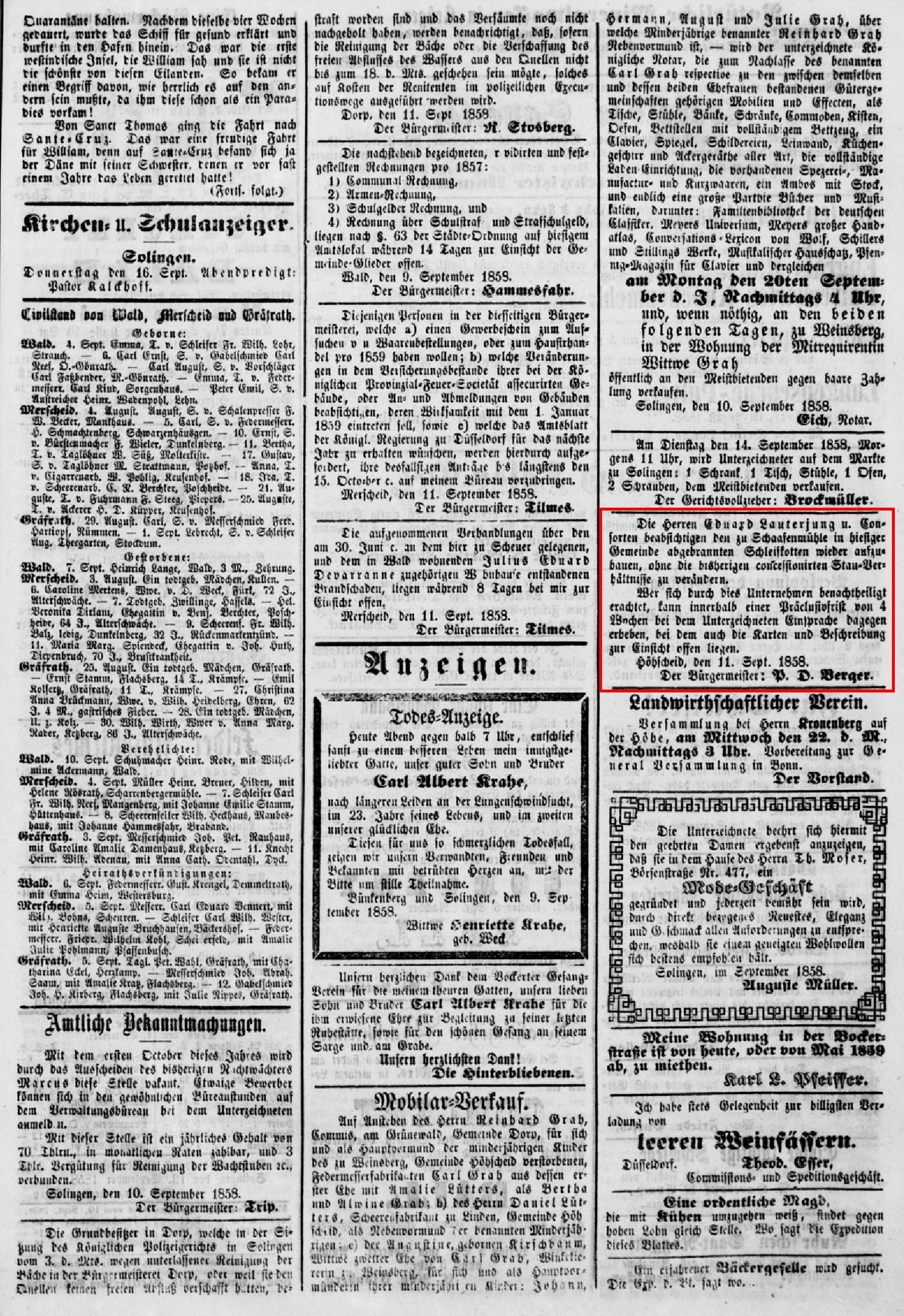 Anzeige_1858-09-14_Bergisches-Volksblatt_Seite-3-Mitte