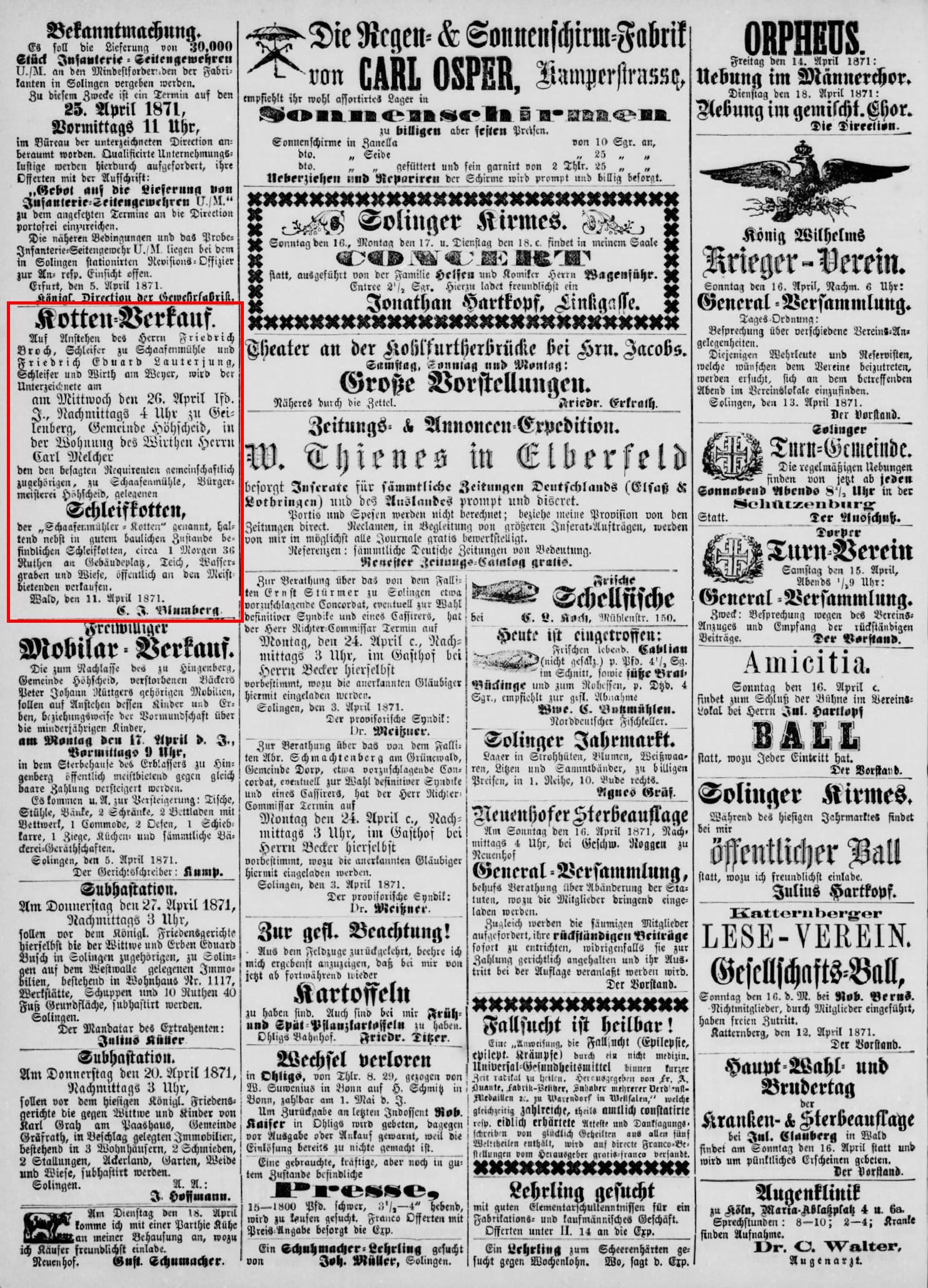 Anzeige_1871-04-14_Solinger-Kreis-Intelligenzblatt_Seite-4-oben