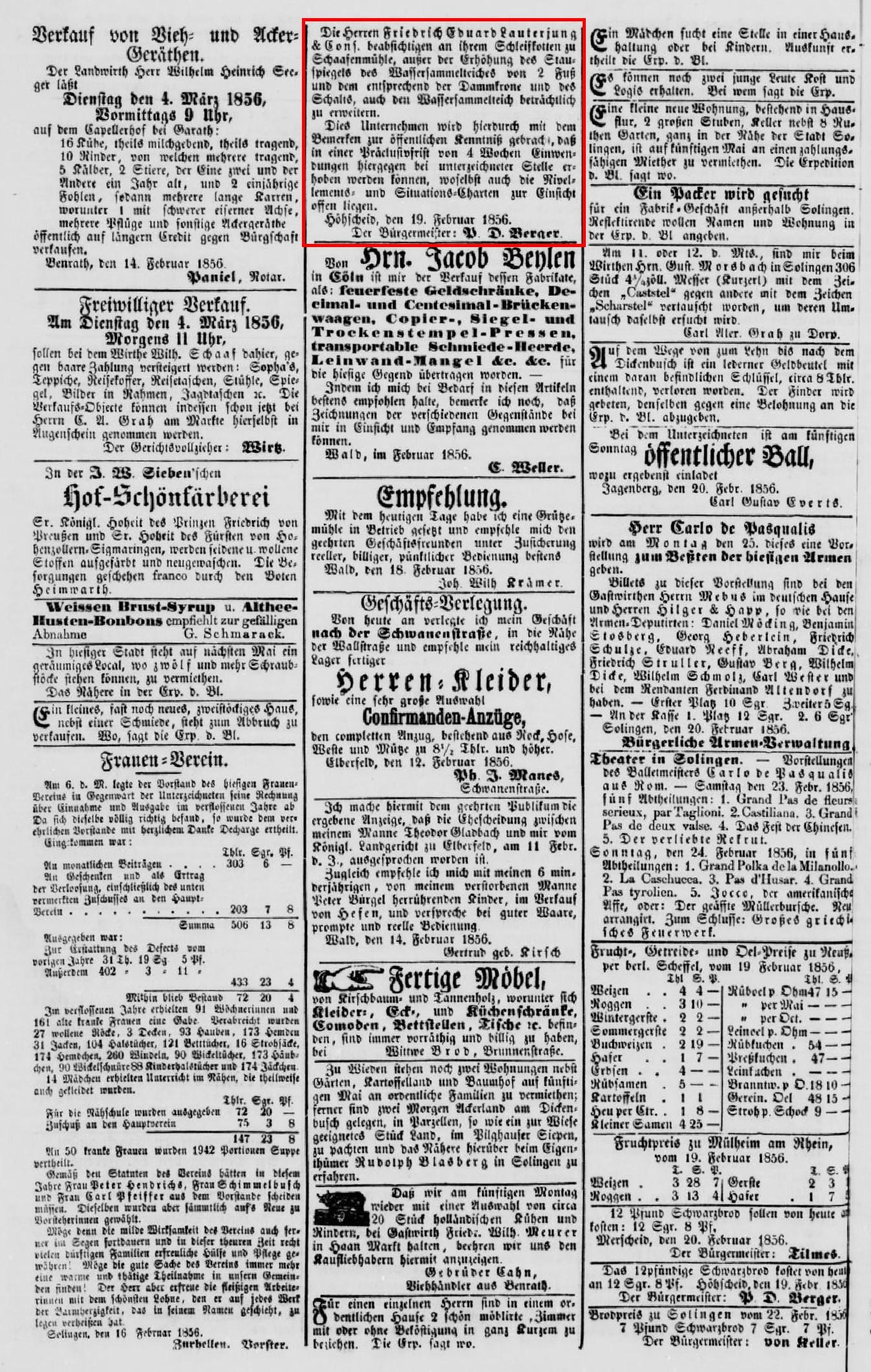 Anzeige im Solinger-Kreis-Intelligenzblatt vom 23.02.1856